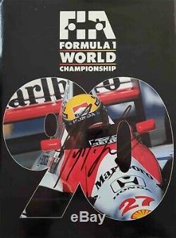 1990 F1 annual review Grand Prix hand signed book Ayrton Senna freeP&P Formula 1