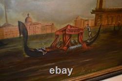 19th C Original Painting Venice Grand Canal W Venetian Gondola Oil Canvas Framed