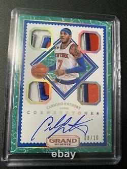 2016-17 Panini Grand Reserve Carmelo Anthony Knicks Cornerstone4 patch auto 8/10