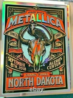 2018 Metallica Grand Forks Vip Silk Screen Foil Concert Poster 9/8 Ap/30 Signed
