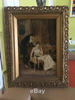 ANTIQUE Signed LE GRAND dated 1894 Figural Interior Scene Oil on Canvas Painting