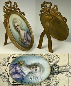 Antique French Grand Tour Souvenir Portrait Miniature of Marie-Antoinette, Frame