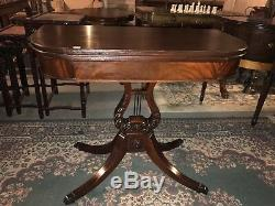 Antique c. 1920 signed Imperial Grand Rapids MI lyre back mahogany game table