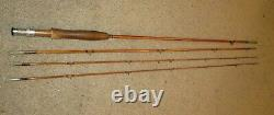 BAMBOO FLY ROD VINTAGE SIGNED GENE EDWARDS DE LUXE 3-PIECE 2 TIPS withCASE RARE