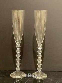 Baccarat Crystal Vega Grand Fluted 11 3/8 Champagne Flute Stemware Set of 2