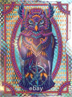Bioworkz Grand Horned Owl Navy Cubic Foil Art Print Poster Signed Numbered #1/10