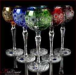Bohemia Colored Crystal Wine Glasses 21 cm, 220 ml, Jasmine DeLuxe 6 pc New