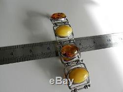 DELUXE 43g sterling silver 925 egg yolk honey amber gemstone bracelet SIGNED PS