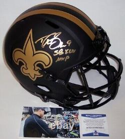 Drew Brees Signed Riddell Saints Eclipse Speed Full Size Deluxe Helmet Mvp Bas