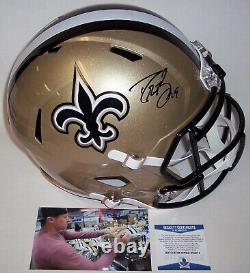 Drew Brees Signed Riddell Saints Speed Full Size Deluxe Replica Helmet Bas
