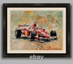 FERRARI Formula 1 Grand Prix ORIGINAL OIL PAINTING Race Car Racing Andre Dluhos
