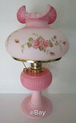 Fenton Limited Edition HP Rosalene Aladdin Grand Vertique Kerosene Lamp