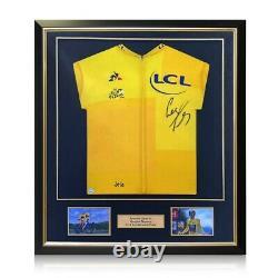 Geraint Thomas Signed Tour De France 2018 Yellow Jersey. Deluxe Frame