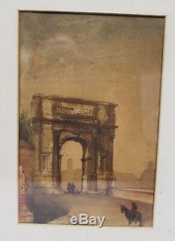 Good, sAntique Signed Rome Grand Tour Watercolor Painting George Allen Rudd 1878