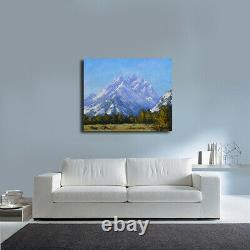 Grand Tetons Snow Mountain painting Wyoming landscape American fine art oil