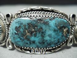 Grand Vintage Navajo Turquoise Mountain Turquoise Sterling Silver Bracelet Old