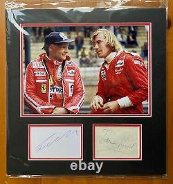 James Hunt & Niki Lauda Signed Formula One Display Uacc Grand Prix 1 Autograph