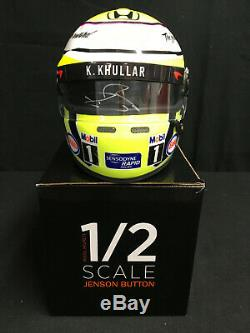 Jenson Button SIGNED 1/2 scale helmet, 2016 Last Formula 1 Grand Prix. DRM, COA