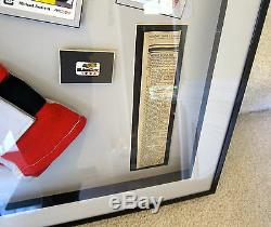 Michael Andretti Autographed Framed Race Worn Gloves 1996 Detroit Grand Prix