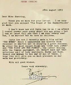 PETER CUSHING Star Wars Grand Moff Tarkin Signed 1959 Fan Letter BAS SLABBED