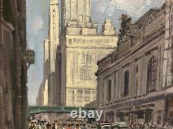 Peter Ewart Canadian Artist Grand Central Station Oil On Board