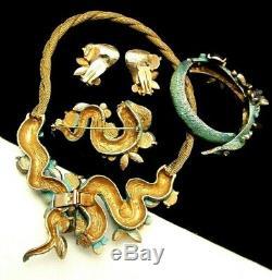 Rare Vintage Signed HAR Cobra Snake Grand Parure Necklace Bracelet Pin Earrings