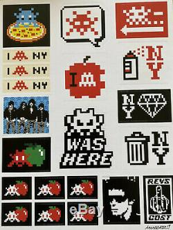 SPACE INVADER SIGNED Stuck Up Deluxe Sticker Sheet Limited 200 FREE UK Postage