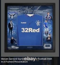 Steven Gerrard Signed Deluxe Framed Rangers Shirt Private Signing Coa £200