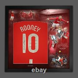 WAYNE ROONEY SIGNED AND DELUXE FRAMED MANCHESTER UNITED 10 SHIRT With Coa £199
