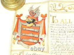 1662 Charles II Grand Des Armoiries Illuminées Document & Sceau John Gonning Bristol