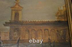 19 C Peinture Originale Venise Grand Canal De Venise W Gondola Huile Toile Encadrée