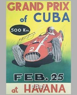 1958 Grand Prix De L'affiche De L'événement Cuba, Dédicacé Par Fangio