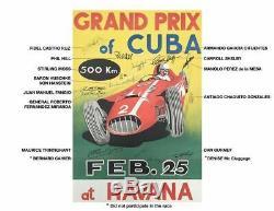 1958 Grand Prix De L'affiche De L'événement Cuba, Dédicacé Par Fidel Castro, De Nombreuses Course