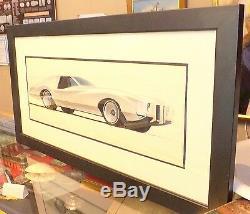 1969 Original Art Pontiac Grand Prix Studio Encadrée Et Emmêlée Signée Camp 10,69
