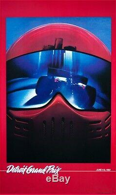 1982 Grand Prix De Detroit Poster Réimprimé Par Le Photographe Et Signé