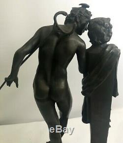 19c Italienne Signé Grand Tour Bronze Sculpture Statue Mercury Hermes Figurine