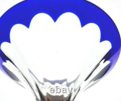 2 Faberge Grand Duke Cobalt Blue Cut To Clear Crystal Martini Glass New Signed
