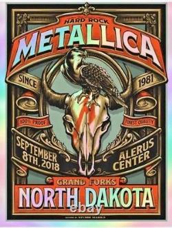 2018 Metallica Grand Forks Vip Silk Screen Foil Affiche De Concert 9/8 Ap/30 Signé