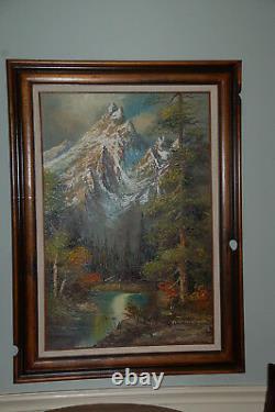 44x32 Original Peter Tensley Jr Peinture À L'huile Originale Grand Teton National Park