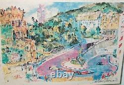 8546 Leroy Neiman Triple Signé Imprimer Framed Grand Prix De Monaco Crayon 36 X 30
