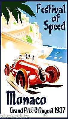 A0 Affiche Speed 1937 Vintage Grand Prix De Monaco Peinture Sur Toile D'art