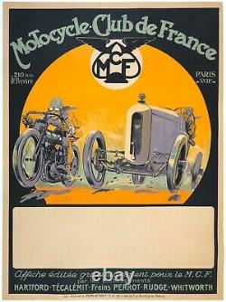Affiche Vintage Originale Motocycle Club De Paris Français Grand Prix Car Racing Ol