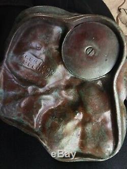 American Deluxe Bronze Art Nouveau Lily Pad Lampe. Signé Ombre Lundberg