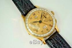 Angélus Chronodato Chronographe Signé Grand Rex Gold Filled C. 1950