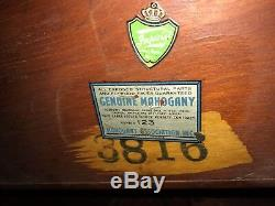 Antique C. 1920 Signé Imperial Grand Rapids MI Cithare Retour Table De Jeu En Acajou