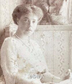 Antique Imperial Grande-duchesse Russie Olga Romanov Photo Dédicacée 1914 À Xenia
