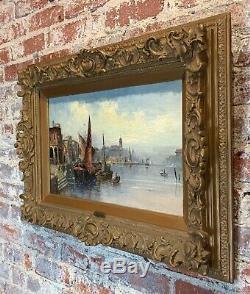 Antique Italien Vénitien Peinture 19ème Siècle Grand Tour Signé