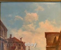 Antique Peinture Italienne Vénitienne Grand Tour O / C Signé