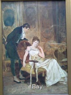 Antique Signé Le Grand Daté Huile Scène 1894 Figural Intérieur Sur Toile De Peinture