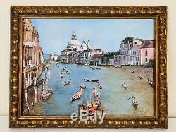 Antique Vénitien Grand Canal De Venise Italie Peinture À L'huile Italienne Signé Chanteuse 85